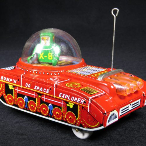 Antique Vintage Bump'N Go X-8 Space Explorer - KO, Yoshiya – Japan Tin Lithograph Friction Powered Futuristic Space Tank Car Toy For Sale