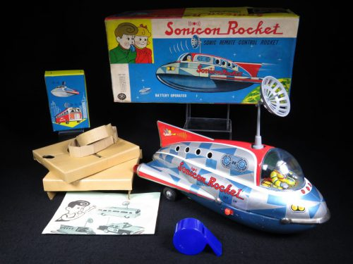 Antique / Vintage Checkered Sonicon Rocket - Masudaya – Japan Tin Lithograph Battery Operated Futuristic Space Ship Toy For Sale