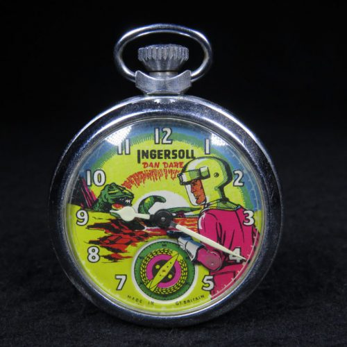 Antique Metal Pocket Watch of Dan Dare with Dinosaur