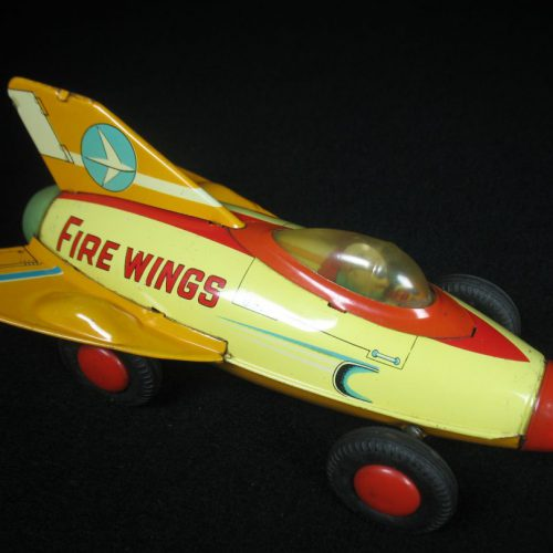 Antique Vintage Fire Wings Rocket Car - SAN, Marusan – Japan Tin Lithograph Friction Powered Futuristic Space Vehicle Toy For Sale