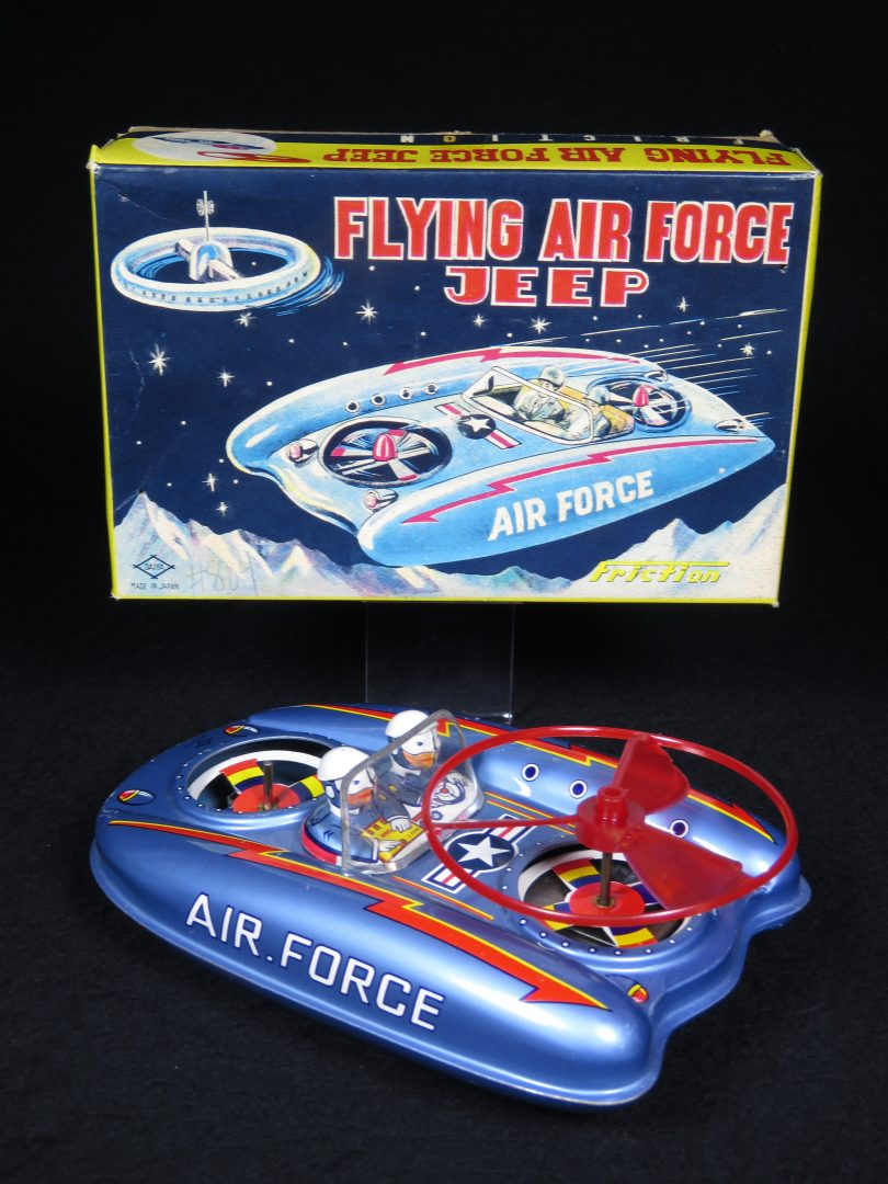 Antique Vintage Flying Air Force Jeep - Daiya – Japan Tin Lithograph Friction Powered Futuristic Space Vehicle Car with Satellite Disk Toy For Sale