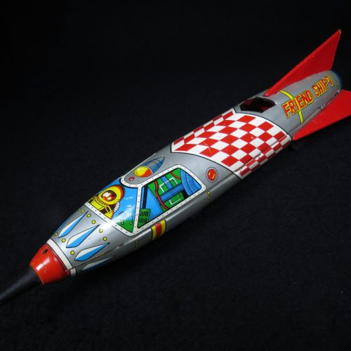 Antique Vintage Friend Ship 7 Space Rocketship - Yonezawa – Japan Tin Lithograph Friction Powered Futuristic Missile Toy For Sale