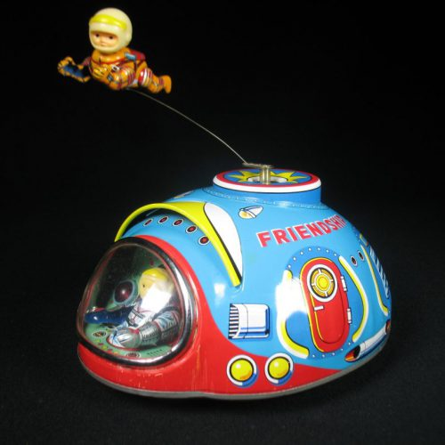 Antique Vintage Friendship Spaceship - Masudaya – Japan Tin Lithograph Battery Operated Space NASA Astronaut Flying Toy For Sale