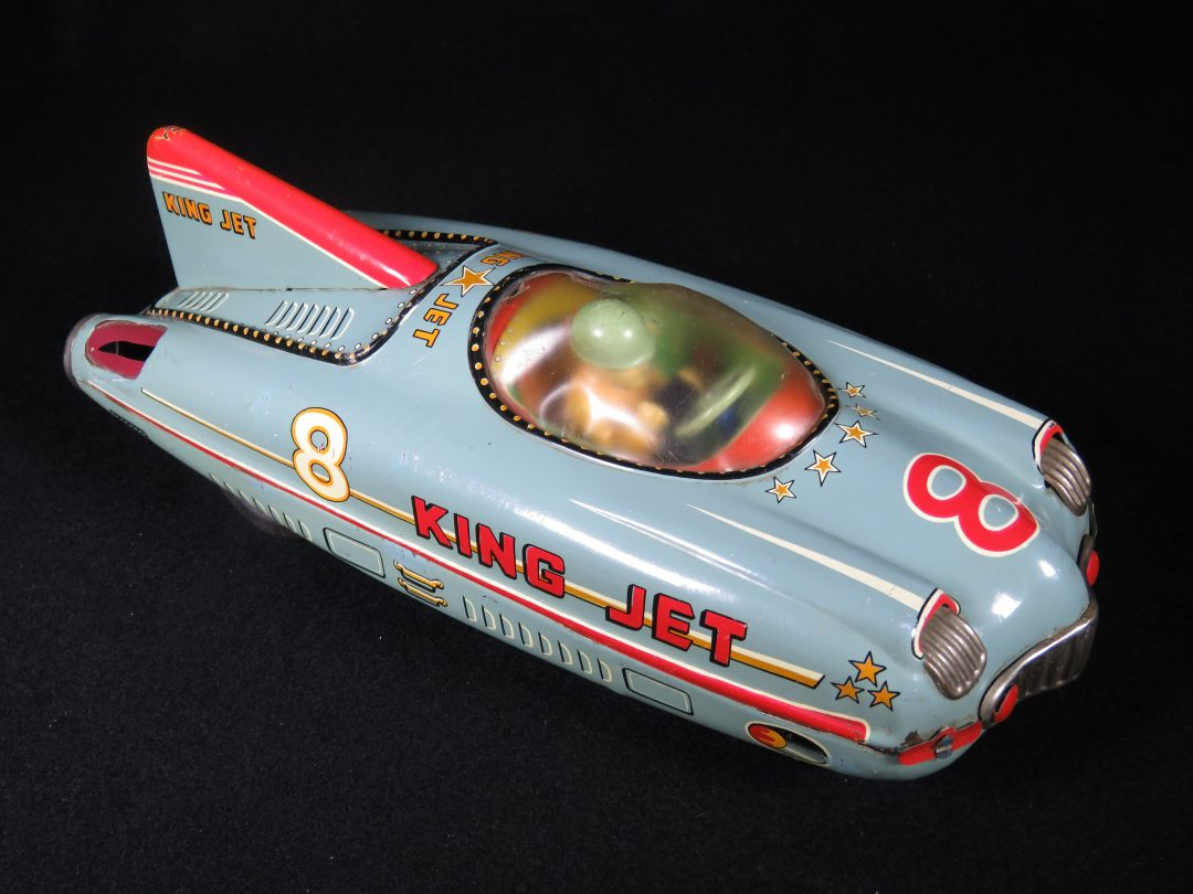 Antique Vintage King Jet 8 Race Car - T.K.K. – Japan Tin Lithograph Friction Powered Futuristic Space Vehicle Toy For Sale
