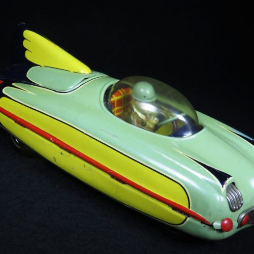 Antique Vintage King Jet Race Car Variation - T.K.K. – Japan Tin Lithograph Battery Operated Space Vehicle Toy For Sale