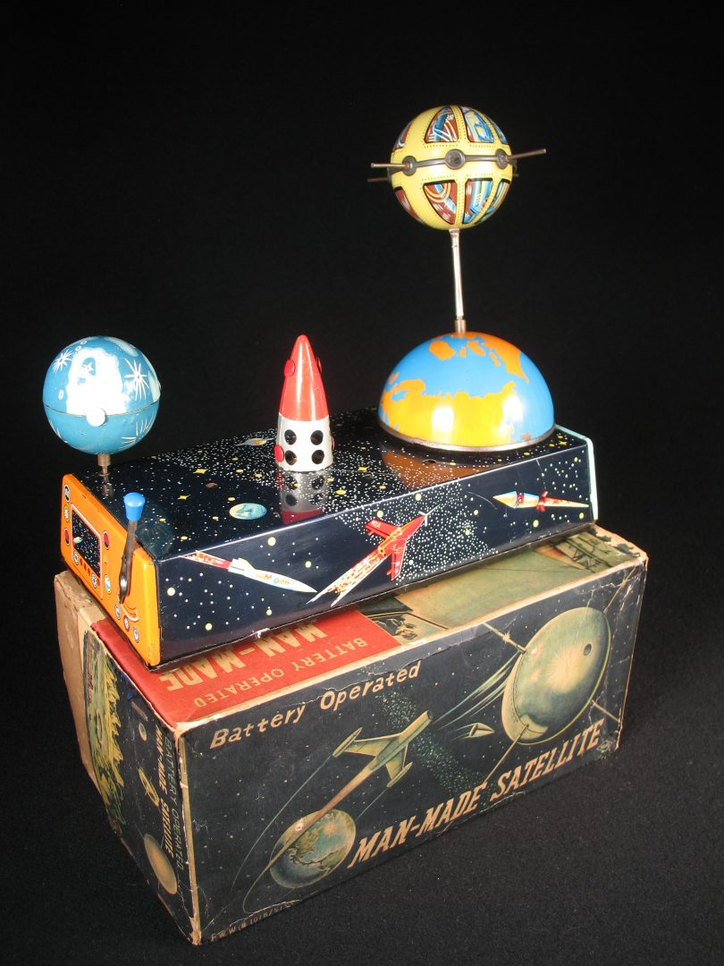 Antique Vintage Man-Made Satellite - Swallow, Hoku – Japan Tin Lithograph Battery Operated Futuristic Rocket and Lunar Moon Toy with Original Box For Sale