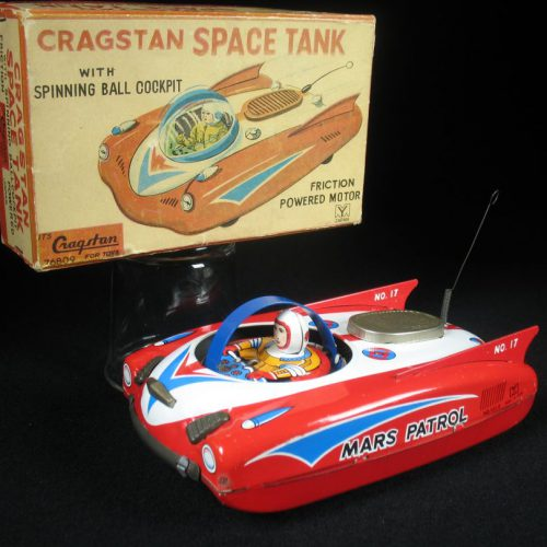 Antique Vintage Mars Patrol - Yanoman, Cragstan – Japan Tin Lithograph Battery Operated Futuristic Space Car Vehicle Toy with Astronaut and Original Box For Sale