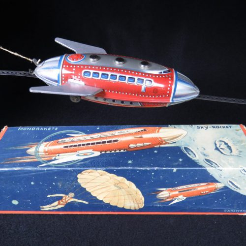 Antique Vintage Mondrakete Moon Sky-Rocket - Guntherman - West Germany Tin Lithograph Friction Powered Futuristic Space Rocketship Toy with Original Box For Sale
