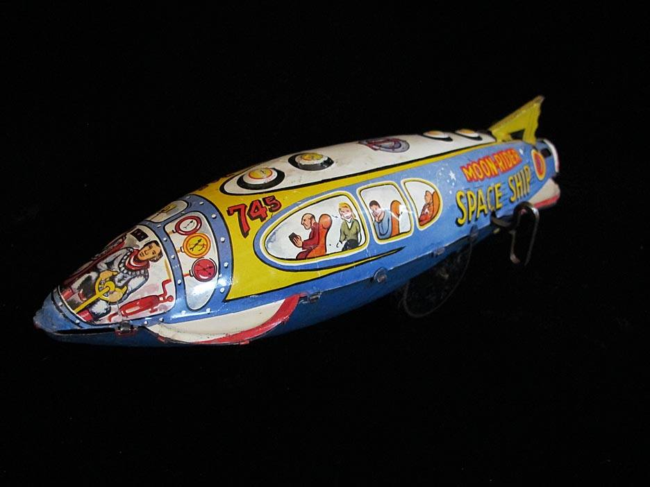 Antique Vintage Moon Rider Space Ship - Marx – England Tin Lithograph Mechanical Wind-Up Powered Futuristic T.V. Space Rocket Ship Toy For Sale