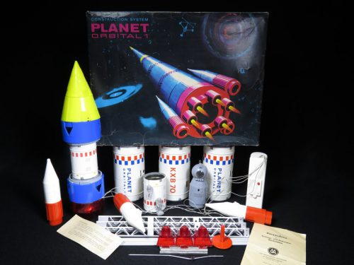 Antique Vintage Planet Orbital Space Satellite Rocket System - MS Brandenburg - East Germany Tin Lithograph Battery Operated Futuristic Missile Set Toy For Sale with Original Box