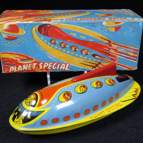 Antique Vintage Planet Special Spaceship Gyro Car - Unknown - Great Britain Tin Lithograph Friction Futuristic Toy For Sale