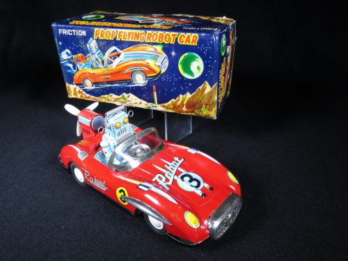 Antique Vintage Prop Flying Robot Car #3 - ATC, Asahi – Japan Tin Lithograph Friction Powered Futuristic Space Vehicle Toy For Sale