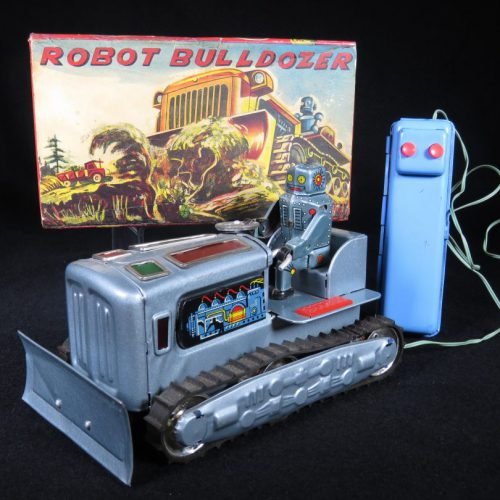 Antique Vintage Robot Bulldozer - KO, Yoshiya – Japan Tin Lithograph Battery Operated Futuristic Space Tank Toy For Sale