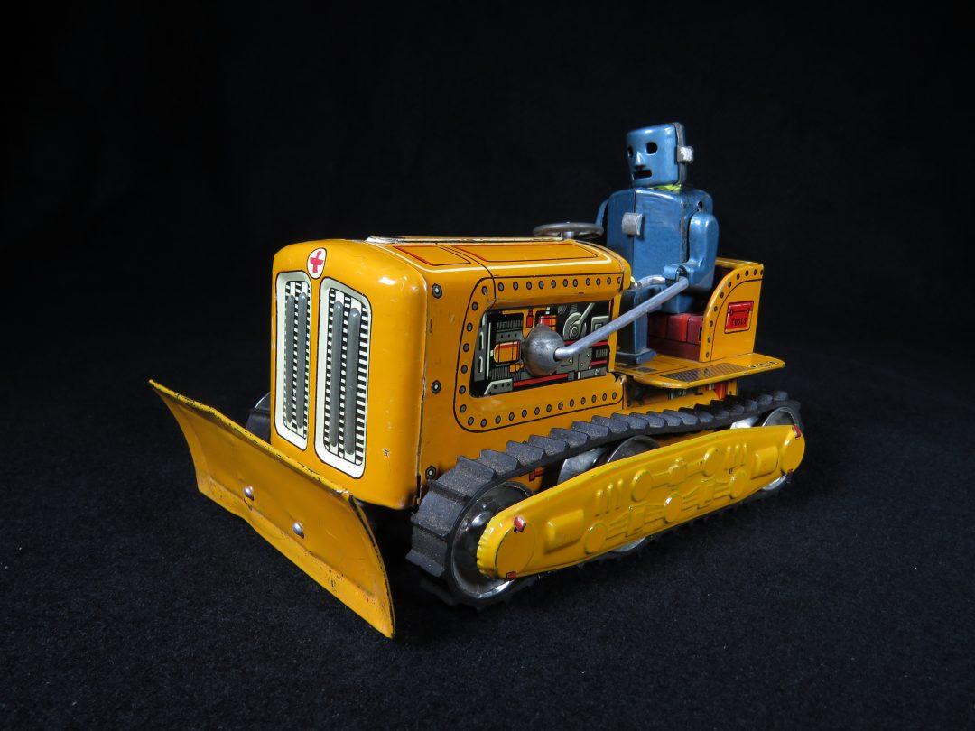 Antique Vintage Robot Orange Bulldozer Tank - KO, Yoshiya – Japan Tin Lithograph Battery Operated Futuristic Space Vehicle Toy For Sale