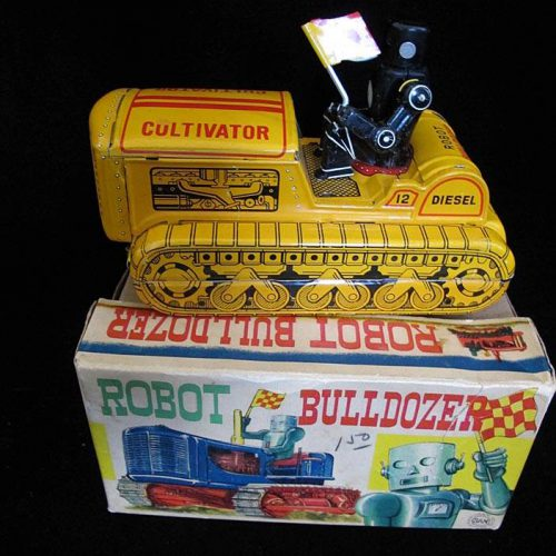 Antique Vintage Robot Bulldozer Robby Cultivator - SAN, Marusan – Japan Tin Lithograph Battery Operated Space Tank Vehicle Toy For Sale with Original Box