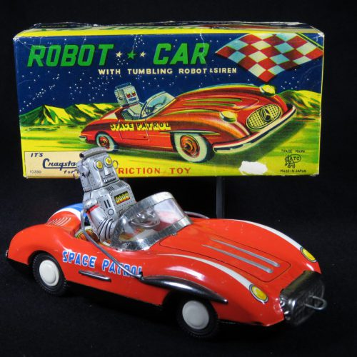 Antique Vintage Robot Car Space Patrol- ATC, Asahi, Cragstan – Japan Tin Lithograph Friction Powered Space Vehicle Toy For Sale