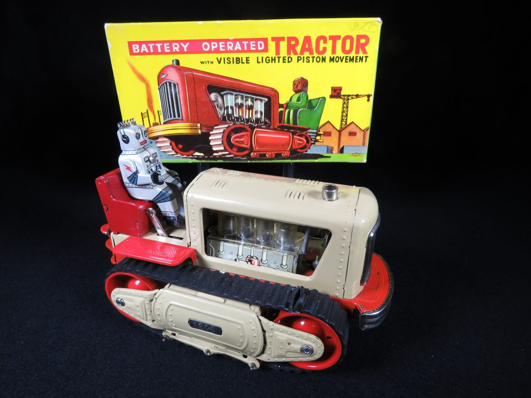 Antique Vintage Robot Lighted Piston Tractor 1200 - Nomura, Showa – Japan Tin Lithograph Battery Operated Space Tank Vehicle Toy For Sale