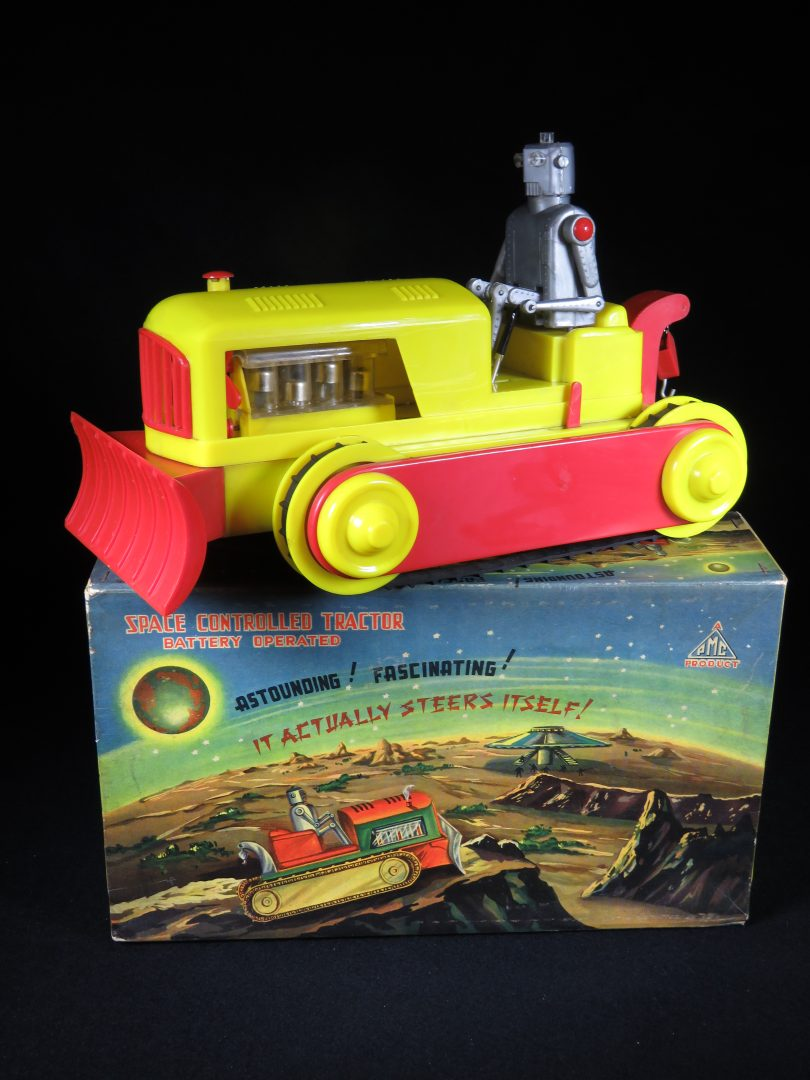 Antique Vintage Robot Space Controlled Tractor - PMC - Hong Kong Hard Plastic Battery Operated Futuristic Tank Vehicle Toy For Sale with Original Box