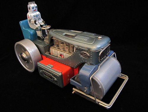 Antique Vintage Robot Roadroller 1200 - Nomura – Japan Tin Lithograph Battery Operated Space Tank Toy For Sale