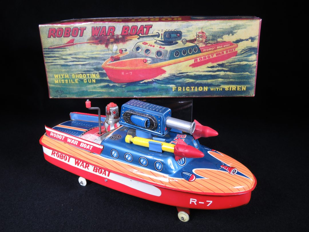 Antique Vintage Robot War Boat - ASC, Aoshin – Japan Tin Lithograph Wind-Up Futuristic Space Ship with Missiles Toy For Sale