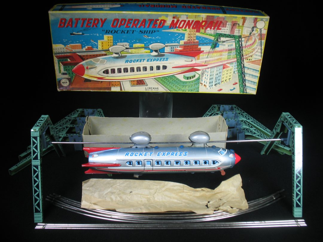 Antique Vintage Rocket Express Monorail - Linemar – Japan Tin Lithograph Battery Operated Futuristic Space Train Rail Car Toy For Sale