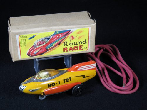 Antique Vintage Round Race Rocket Car Jet No. 1 - Asahi – Japan Tin Lithograph Futuristic Space Vehicle Toy with Original Box For Sale