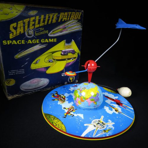 Antique Vintage Satellite Patrol - Ohio Art – USA Tin Lithograph Battery Operated Futuristic Rocketship and UFO Saucer Toy For Sale with Original Box