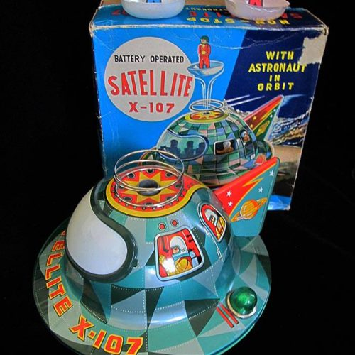 Antique Vintage Satellite X-107 Flying Saucer - Masudaya – Japan Tin Lithograph Battery Operated Futuristic Space UFO Ship Toy For Sale