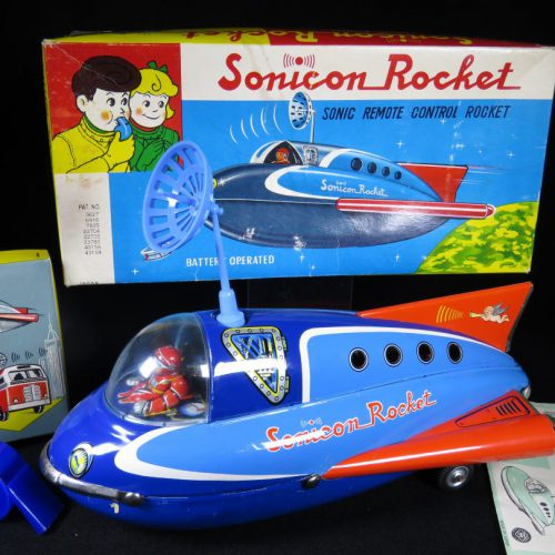 Antique / Vintage Sonicon Rocket - Masudaya – Japan Tin Lithograph Battery Operated Space Ship Vehicle Toy For Sale