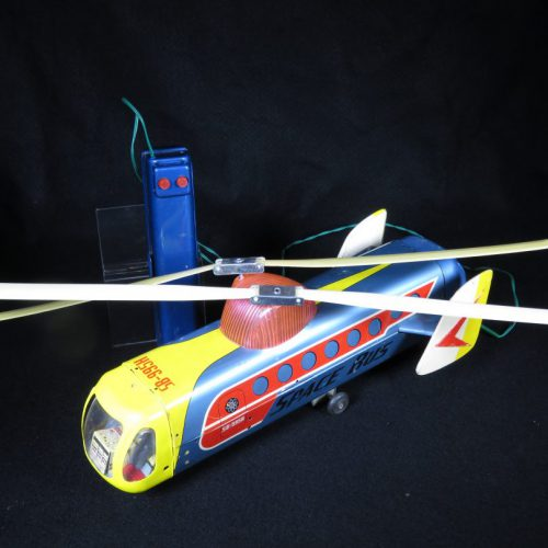 Antique Vintage Space Bus SB-995H - Bandai – Japan Tin Lithograph Battery Operated with Remote Control Flying Futuristic Vehicle Toy For Sale