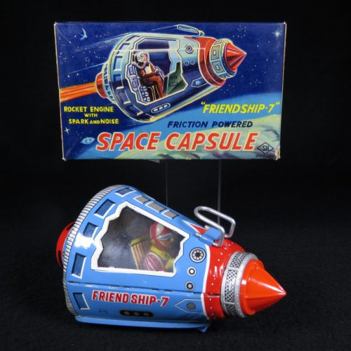 Antique Vintage Space Capsule Friend Ship 7 with Astronaut - SH, Horikawa – Japan Tin Lithograph Battery Operated Futuristic NASA Astronaut Flying Ship Toy with Original Box For Sale