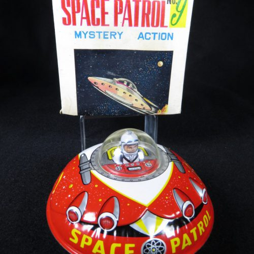 Antique Vintage Space Patrol #9 Flying Saucer - T.T, Takatoku – Japan Tin Lithograph Friction Powered UFO Spaceship with Astronaut Toy For Sale