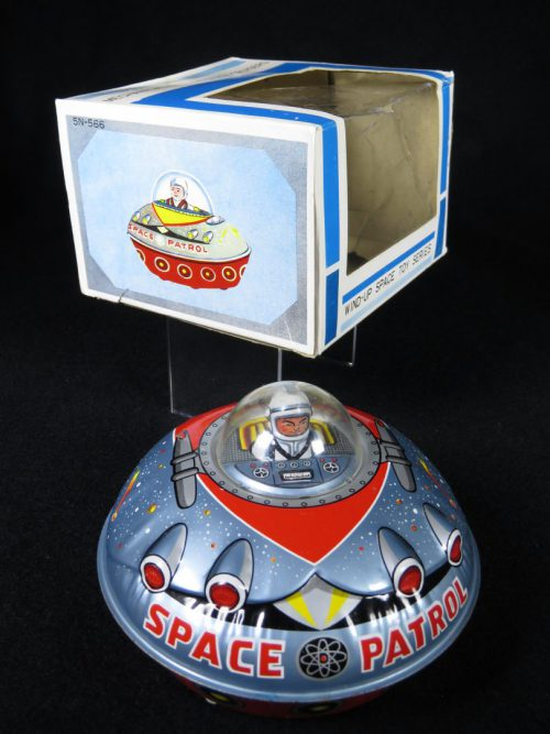 Antique Vintage Space Patrol Flying Saucer - T.T, Takatoku – Japan Tin Lithograph Friction Powered UFO with Astronaut Toy For Sale