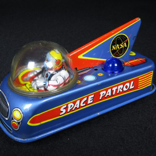 Antique Vintage Space Patrol NASA - Masudaya – Japan Tin Lithograph Friction Powered Futuristic Astronaut Driven Car Vehicle with Fin Toy For Sale
