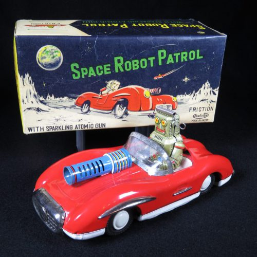 Antique Vintage Space Robot Patrol Car - Asahi – Japan Tin Lithograph Friction Powered Futuristic Lunar Moon Vehicle with Large Atomic Machine Gun Toy For Sale and Original Box