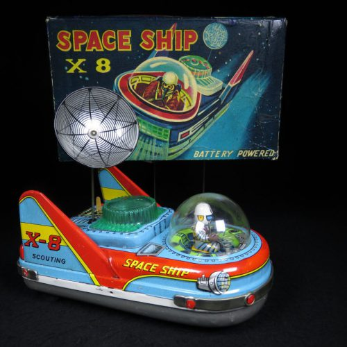 Antique Vintage Space Ship X-8 Scouting - Tada – Japan Tin Lithograph Battery Operated Futuristic Astronaut Vehicle Car For Sale