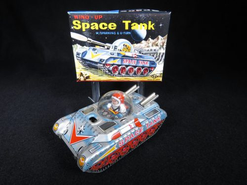 Antique Vintage Sparkling Space Tank - T.T, Takatoku – Japan Tin Lithograph Friction Powered Futuristic Astronaut Vehicle Toy with Original Box For Sale
