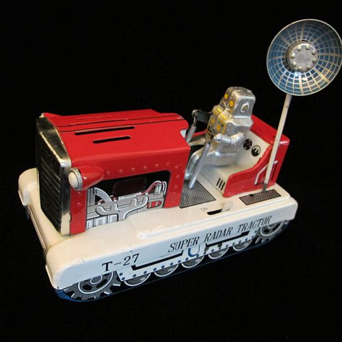 Antique Vintage Super Radar Tractor T-27 - Ichiko – Japan Tin Lithograph Battery Operated Futuristic Space Robot Tank with Radar Toy For Sale