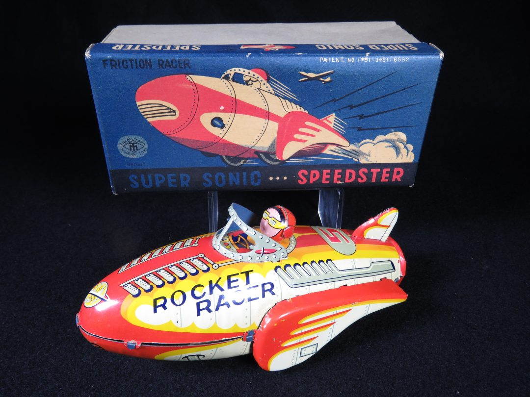 Antique Vintage Super Sonic Speedster Rocket Racer - Masudaya – Japan Tin Lithograph Friction Powered Futuristic Space Rocketship Vehicle Toy For Sale