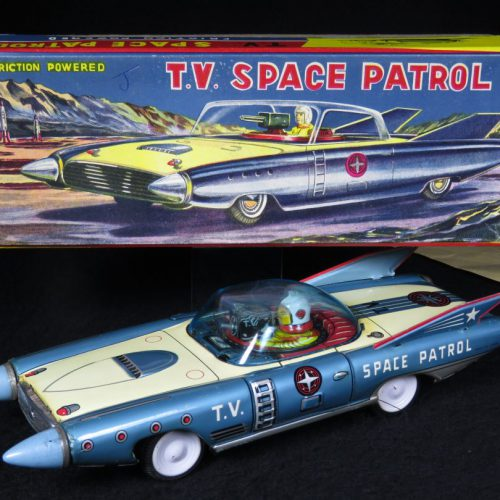 Antique Vintage Tin Lithograph Space T.V. Patrol Futuristic Car Friction Toy Japan