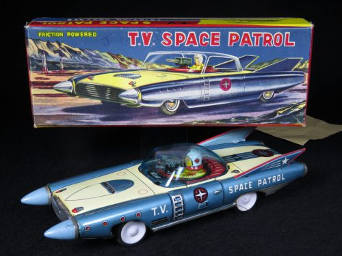 Antique Vintage T.V Space Patrol Car Futuristic Tin Lithograph Friction Toy Japan For Sale