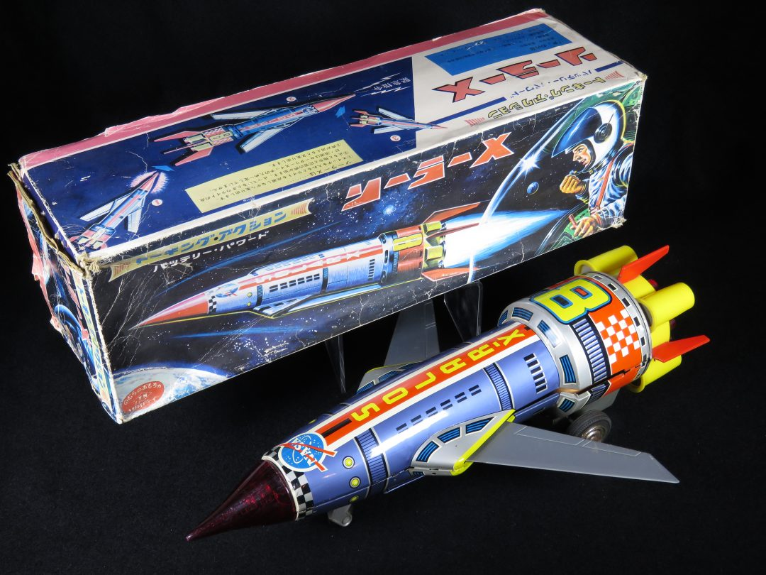 Antique Vintage Talking Solar X- 8 Space Rocket Variation - T.N, Nomura – Japan Tin Lithograph Battery Operated Futuristic Missile Vehicle Toy For Sale
