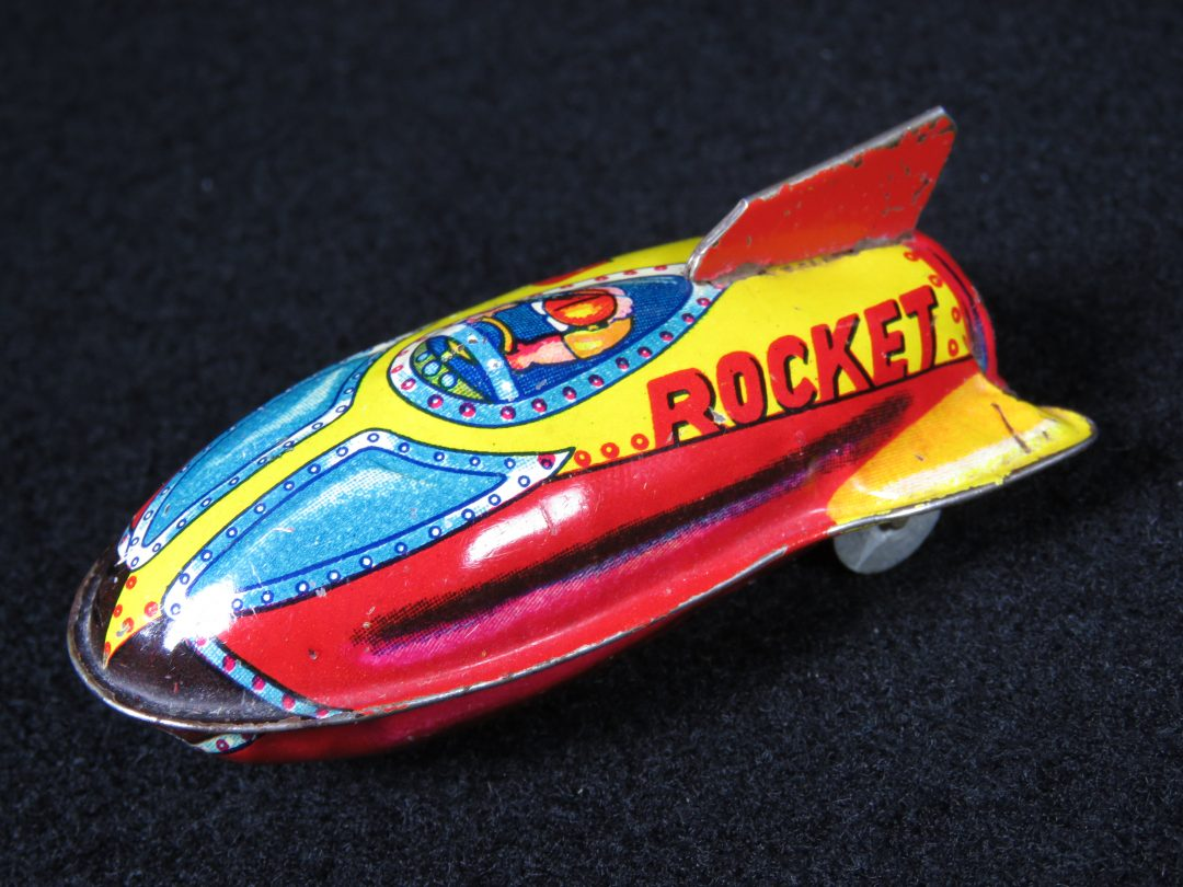 Antique Vintage V-3 Rocket - Suzuki – Japan Tin Lithograph Friction Powered Futuristic Space Rocketship Missile Toy For Sale