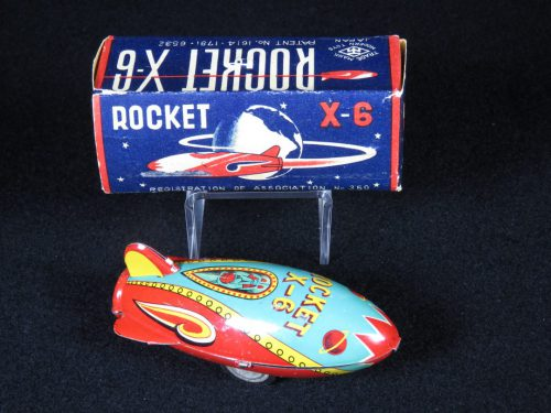 Antique Vintage X-6 Rocket Ship - Masudaya – Japan Tin Lithograph Friction Powered Space Vehicle Missile Toy For Sale