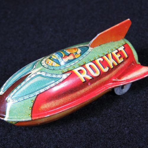 Antique Vintage XYZ Space Rocket - Suzuki – Japan Tin Lithograph Friction Powered Futuristic Missile Ship Toy For Sale