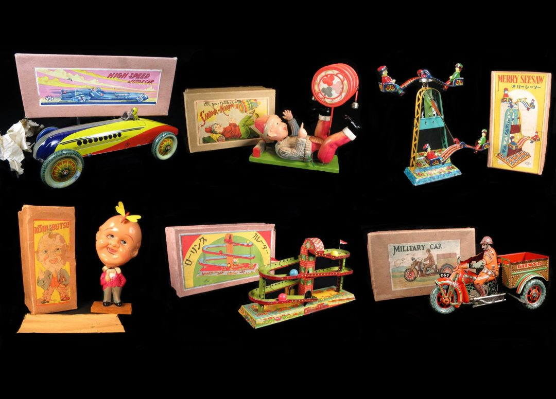 Vintage Antique Prewar Pre-war Occupied Japan Tin and Celluloid Toys For Sale By Dealer Battery Operated Wind-Up Friction