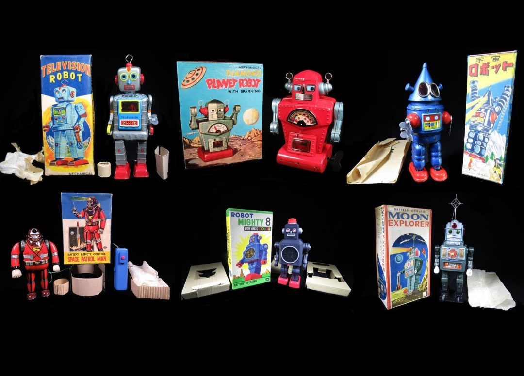 Vintage Antique Tin Lithograph Futuristic Space Robots Astronaut Spaceman Japan Japanese Battery Operated Wind-Up Friction Toy Dealer For Sale