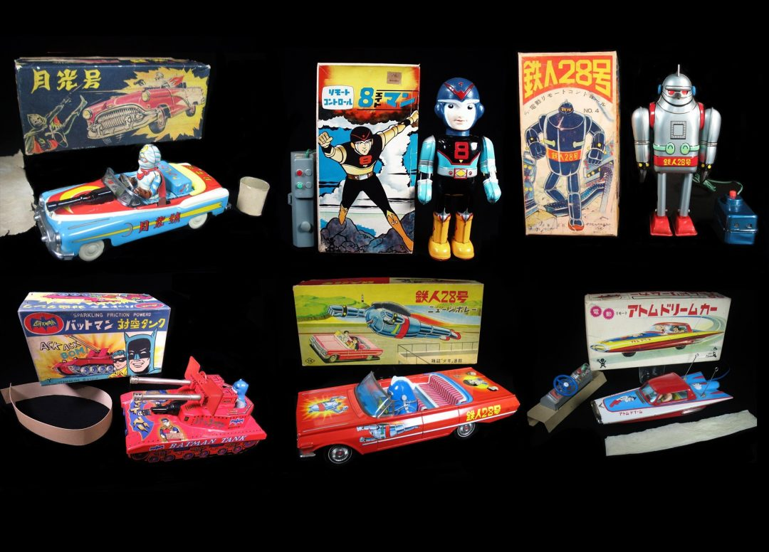 Vintage Antique Tin Lithograph Celluloid Japanese Super Hero Superhero Toy Tetsujin T28 Astro Boy Batman Battery Operated Wind-up Friction For Sale Dealer