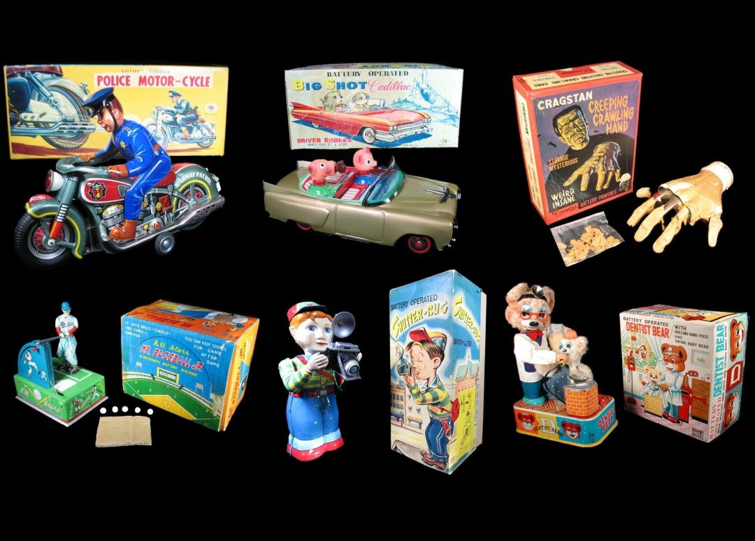 Vintage Antique Tin Lithograph Battery Operated Toys For Sale By Dealer Battery Operated Wind-Up Friction