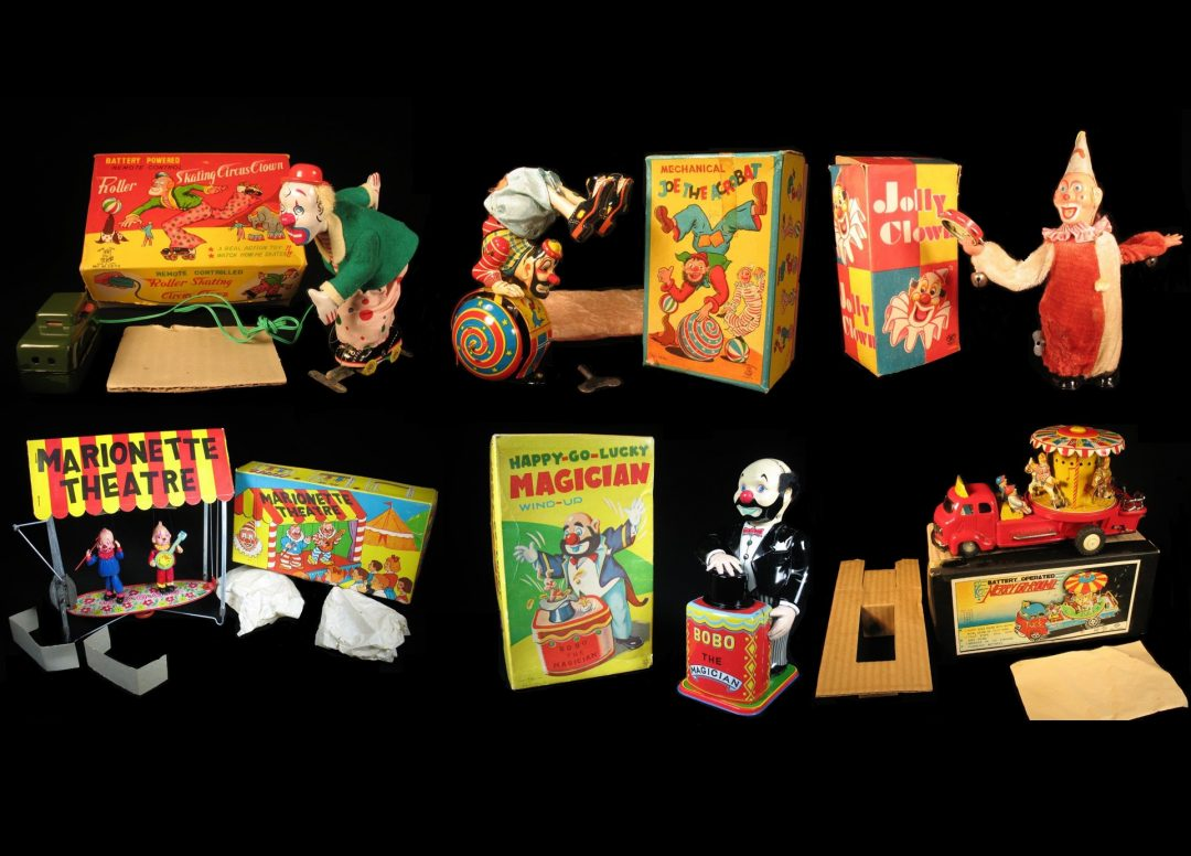 Vintage Antique Tin Lithograph and Celluloid Circus Clown Carnival Fair Parade Toys For Sale By Dealer